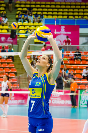 laurence: BANGKOK - AUGUST 15: Andreia Sforzin Laurence of Brazil Volleyball Team in action during The Volleyball World Grand Prix 2014 at Indoor Stadium Huamark on August 15, 2014 in Bangkok, Thailand.