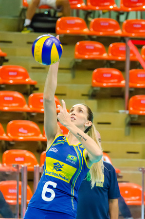 BANGKOK - AUGUST 15: Thaisa Menezes of Brazil Volleyball Team in action during The Volleyball World Grand Prix 2014 at Indoor Stadium Huamark on August 15, 2014 in Bangkok, Thailand.