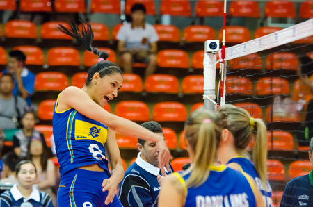 BANGKOK - AUGUST 15: Jaqueline Pereira De Carvalho of Brazil Volleyball Team in action during The Volleyball World Grand Prix 2014 at Indoor Stadium Huamark on August 15, 2014 in Bangkok, Thailand.