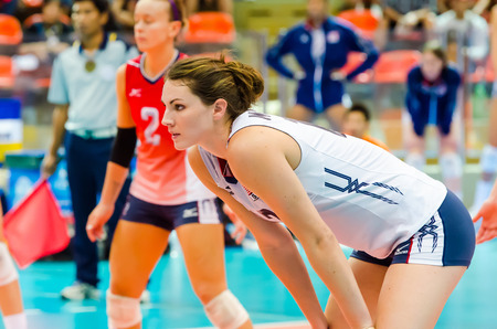 prix: BANGKOK - AUGUST 17: Kelly Murphy of USA Volleyball Team in action during The Volleyball World Grand Prix 2014 at Indoor Stadium Huamark on August 17, 2014 in Bangkok, Thailand.
