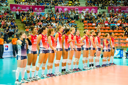 prix: BANGKOK - AUGUST 15: USA Volleyball Team in action during The Volleyball World Grand Prix 2014 at Indoor Stadium Huamark on August 15, 2014 in Bangkok, Thailand.