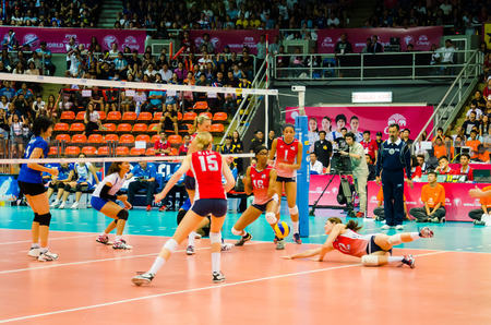 prix: BANGKOK - AUGUST 16: Kelly Murphy of USA Volleyball Team in action during The Volleyball World Grand Prix 2014 at Indoor Stadium Huamark on August 16, 2014 in Bangkok, Thailand.