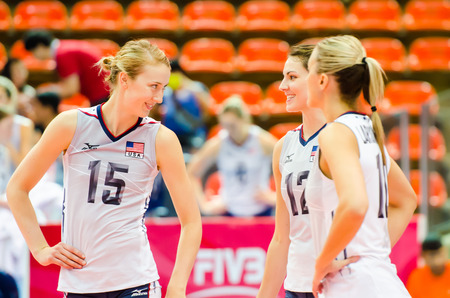 prix: BANGKOK - AUGUST 17:  Kimberly Hill  of USA Volleyball Team in action during The Volleyball World Grand Prix 2014 at Indoor Stadium Huamark on August 17, 2014 in Bangkok, Thailand. Editorial