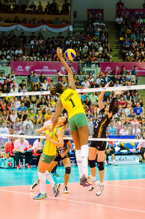 BANGKOK - AUGUST 17: Fabiana Claudino of Brazil Volleyball Team in action during The Volleyball World Grand Prix 2014 at Indoor Stadium Huamark on August 17, 2014 in Bangkok, Thailand. Editorial
