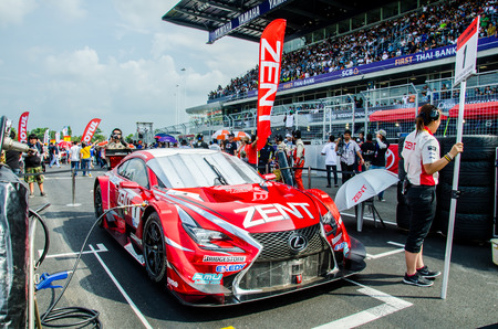 buriram: BURIRAM - OCTOBER 5: Lexus racing car on display at The 2014 Autobacs Super GT Series Race 7 on October 5, 2014 at Chang International Racing Circuit, Buriram Thailand.