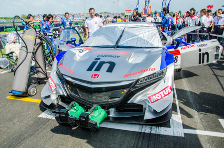 buriram: BURIRAM - OCTOBER 5: Nissan racing car on display at The 2014 Autobacs Super GT Series Race 7 on October 5, 2014 at Chang International Racing Circuit, Buriram Thailand.