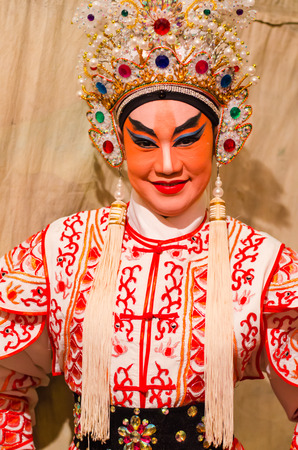 BANGKOK - OCTOBER 22: Unidentified Chinese opera actress at Theaters of Thailands ethnic Chinese in Chinatown on October 27, 2014 in Bangkok, Thailand.