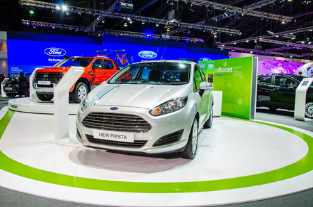 NONTHABURI - NOVEMBER 28:  Ford Fiesta car on display at Thailand International Motor Expo 2014 on November 28, 2014 in Nonthaburi, Thailand. Editorial
