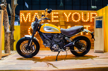 scrambler: NONTHABURI - NOVEMBER 28: Ducati Scrambler motorcycle on display at Thailand International Motor Expo 2014 on November 28, 2014 in Nonthaburi, Thailand