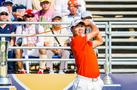 pga: CHONBURI - DECEMBER 13 : Wu Ashun of China player in Thailand Golf Championship 2014 (Professional golf tournament on the Asian Tour) at Amata Spring Country Club on December 13, 2014 in Chonburi, Thailand.