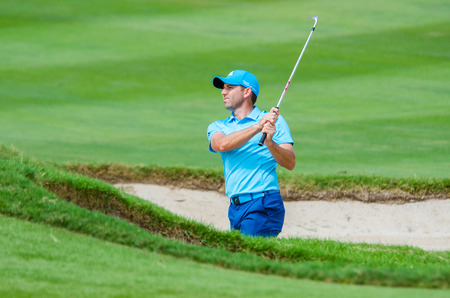 CHONBURI - DECEMBER 13 : Sergio Garcia of spain player in Thailand Golf Championship 2014 (Professional golf tournament on the Asian Tour) at Amata Spring Country Club on December 13, 2014 in Chonburi, Thailand. 에디토리얼