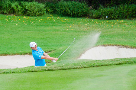 pga: CHONBURI - DECEMBER 13 : David Lipsky of USA player in Thailand Golf Championship 2014 (Professional golf tournament on the Asian Tour) at Amata Spring Country Club on December 13, 2014 in Chonburi, Thailand. Editorial