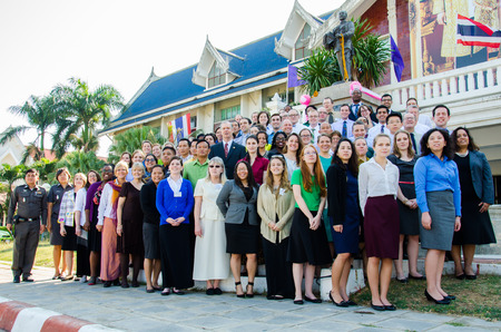 outreach: SINGBURI - JANUARY 14 : Volunteers of the Peace Corps of the United States,  conference of Teacher Collaboration and Community Outreach Program and Community-Based Organizational Development Program in Thailand, January 14, 2015, Singburi, Thailand.