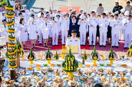 respecting: SING BURI, THAILAND - FEBRUARY 4 : Chalothon Prakord Governor of Sing Buri  respecting soul heroic people of Bangrachan (defence the nation was 277 years ago) at The Bangrachan Heroes Monument, on February 4, 2015 in Sing Buri, Thailand. Editorial