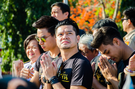 respecting: SING BURI, THAILAND - FEBRUARY 4 : Somchai K. was respecting soul heroic people of Bangrachan (defence the nation was 277 years ago) at The Bangrachan Heroes Monument, on February 4, 2015 in Sing Buri, Thailand.