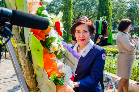 respecting: SING BURI, THAILAND - FEBRUARY 4 : Unidentified bureaucrat of Sing Buri  respecting soul heroic people of Bangrachan (defence the nation was 277 years ago) at The Bangrachan Heroes Monument, on February 4, 2015 in Sing Buri, Thailand.