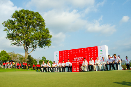 sponsors: CHONBURI - MARCH 1: Organizers and sponsors of the awards ceremony to the winners of the competition in Honda LPGA Thailand 2015 at Siam Country Club, Pattaya Old Course on March 1, 2015 in Chonburi, Thailand.