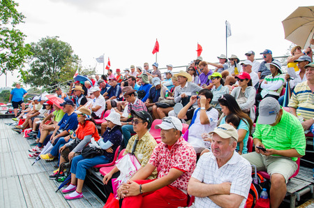 chonburi: CHONBURI - FEBRUARY 28: Many people wait for a match in Honda LPGA Thailand 2013 at Siam Country Club, Pattaya Old Course on February 28, 2015 in Chonburi, Thailand.