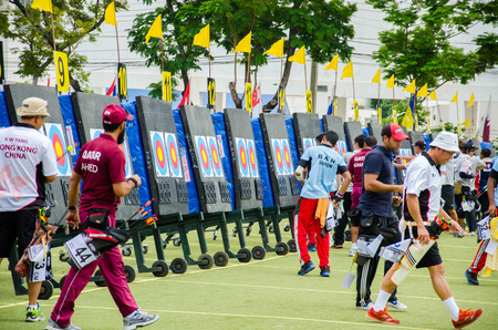 sports complex: BANGKOK -MARCH 19: Unidentified archers check point in 2015 Asia Cup-World Ranking Tournament (stage II) at Hua Mak Sports Complex on March 19, 2015 in Bangkok, Thailand. Editorial