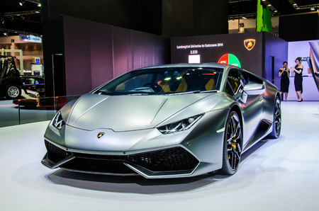 lamborghini: NONTHABURI - MARCH 24:  Lamborghini car on display at Thailand 36th Bangkok International Motor Show 2015 on March 24, 2015 in Nonthaburi, Thailand.