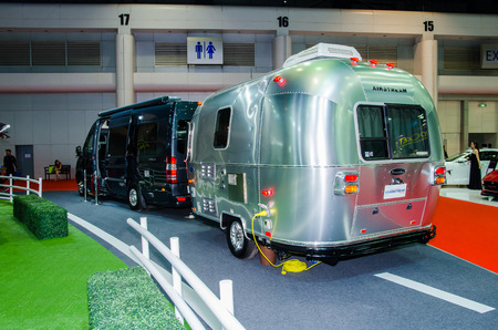 airstream: NONTHABURI - MARCH 24: Airstream Classic car on display at Thailand 36th Bangkok International Motor Show 2015 on March 24, 2015 in Nonthaburi, Thailand.
