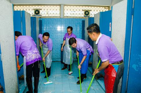 singburi: SINGBURI - APRIL 3 : Volunteers was cleaning public toilet, in order to promote a shared clean toilet, April 3, 2015, Singburi, Thailand.
