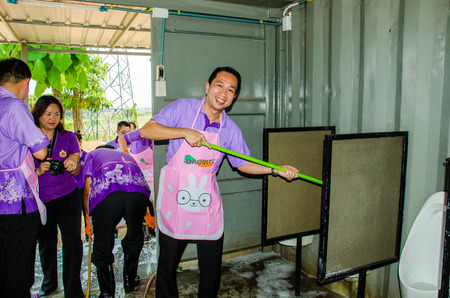singburi: SINGBURI - APRIL 3 : Volunteers was cleaning public toilet, in order to promote a shared clean toilet, April 3, 2015, Singburi, Thailand.