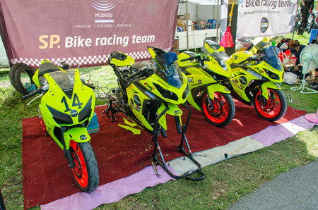skilled: NAKHON PATHOM - JULY 25 : Motorcycle in pit on display in Thailand SuperBikes Championship 2015 Round 1 at Thailand Circuit, on July 25, 2015 in Nakhon Pathom, Thailand.