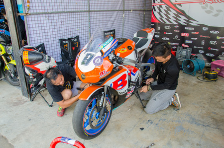 NAKHON PATHOM - JULY 25 : Unidentified auto mechanic repaired motorcycle on display in Thailand SuperBikes Championship 2015 Round 1 at Thailand Circuit, on July 25, 2015 in Nakhon Pathom, Thailand. Editorial