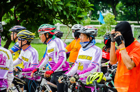 singburi: SINGBURI AUGUST 04 : Unidentified Cyclist in  prepared for Bike for mom event, event show respected to Queen of Thailand by the participant cycling, on August 04, 2015, Singburi, Thailand.