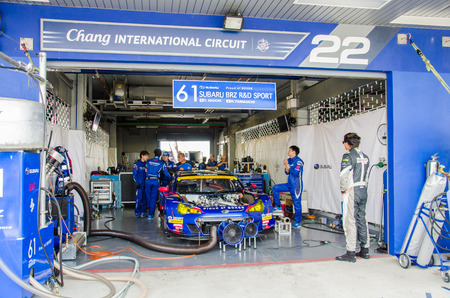 buriram: BURIRAM - JUNE 21: Subaru racing car in pit on display at The 2015 Autobacs Super GT Series Race 3 on June 21, 2015 at Chang International Racing Circuit, Buriram Thailand