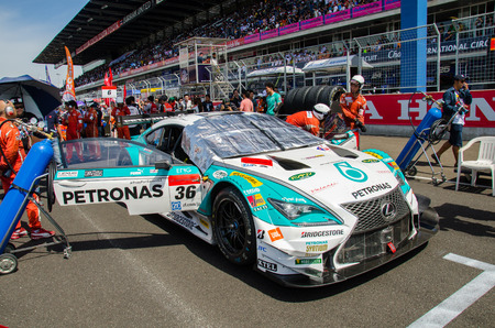 buriram: BURIRAM - JUNE 21:  Lexus racing car on track at The 2015 Autobacs Super GT Series Race 3 on June 21, 2015 at Chang International Racing Circuit, Buriram Thailand. Editorial
