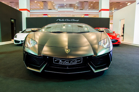 lamborghini: BANGKOK - AUGUST 1 : Lamborghini car on display at Bangkok International Grand Motor Sale 2015 Big Motor Sale 2015 is exhibition of vehicles for sale on August 1, 2015 in Bangkok, Thailand. Editorial