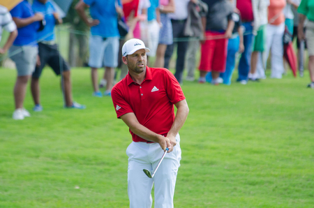 garcia: CHONBURI - DECEMBER 10 : Sergio Garcia of Spain player in Thailand Golf Championship 2015 Tournament on the Asian Tour at Amata Spring Country Club on December 10, 2015 in Chonburi, Thailand.