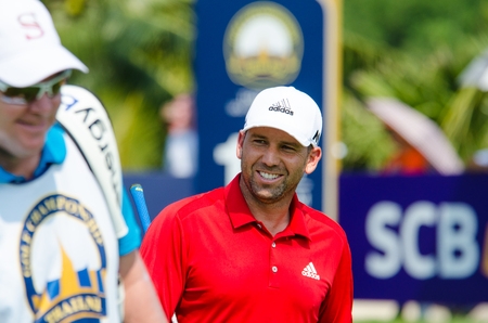 pga: CHONBURI - DECEMBER 10 : Sergio Garcia of Spain player in Thailand Golf Championship 2015 Tournament on the Asian Tour at Amata Spring Country Club on December 10, 2015 in Chonburi, Thailand.