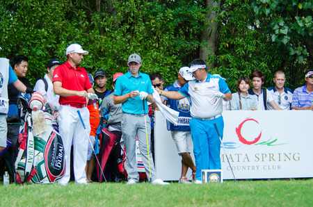 pga: CHONBURI - DECEMBER 10 : Sergio G. Matthew F. and Kiradech A. player in Thailand Golf Championship 2015 at Amata Spring Country Club on December 10, 2015 in Chonburi, Thailand.