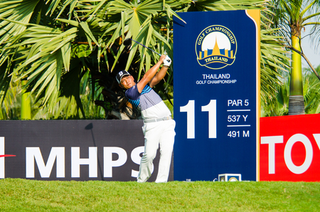 pga: CHONBURI - DECEMBER 10 : Chinnarat Phadungsil of Thailand player in Thailand Golf Championship 2015  at Amata Spring Country Club on December 10, 2015 in Chonburi, Thailand.