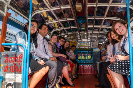 community outreach: SINGBURI - JANUARY 19 : Volunteers of The Peace Corps of United States, Community Outreach Program and Community-Based Organizational Development in Thailand, January 19, 2016, Singburi, Thailand.