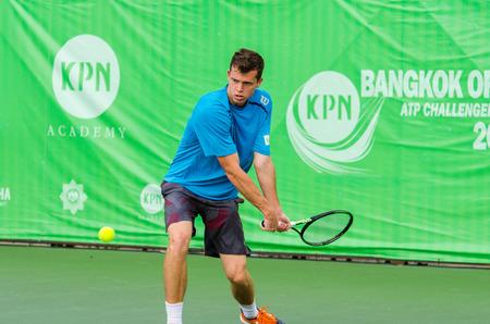 atp: BANGKOK - JANUARY 17 : Adam Pavlasek of Czech Republic in KPN Bangkok Open ATP Challenger Tour 2016 at Rama Gardens Hotel on January 17, 2016 in Bangkok ,Thailand.