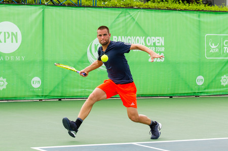 mikhail: BANGKOK - JANUARY 17 : Mikhail Youzhny of Russia, championship of KPN Bangkok Open ATP Challenger Tour 2016, at Rama Gardens Hotel on January 17, 2016 in Bangkok ,Thailand.