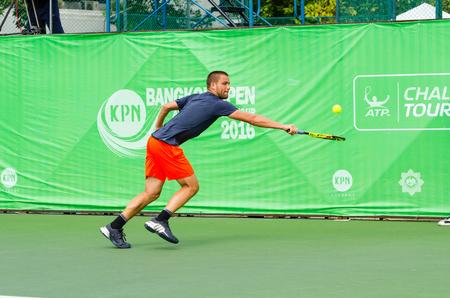 atp: BANGKOK - JANUARY 17 : Mikhail Youzhny of Russia, championship of KPN Bangkok Open ATP Challenger Tour 2016, at Rama Gardens Hotel on January 17, 2016 in Bangkok ,Thailand.