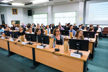 singburi: SINGBURI - JANUARY 19 : Volunteers of The Peace Corps of United States before meeting training Program and Community-Based Organizational Development in Thailand, January 19, 2016, Singburi, Thailand.