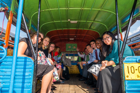 outreach: SINGBURI - JANUARY 19 : Volunteers of The Peace Corps of United States, Community Outreach Program and Community-Based Organizational Development in Thailand, January 19, 2016, Singburi, Thailand.