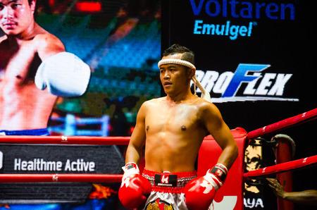 BANGKOK -FEBRUARY 6: Pechsiam K. in Krudam Fight 4 on Muaythai Day at Asia Tique on February 6, 2016 in Bangkok, Thailand.