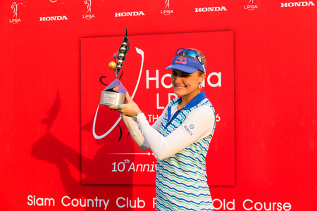 tee off: CHONBURI - FEBRUARY 28 : Lexi Thompson of USA champion of  Honda LPGA Thailand 2016 at Siam Country Club, Pattaya Old Course on February 28, 2016 in Chonburi, Thailand. Editorial