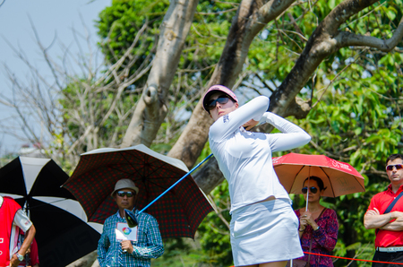tee off: CHONBURI - FEBRUARY 28 : Sandra Gal of USA in Honda LPGA Thailand 2016 at Siam Country Club, Pattaya Old Course on February 28, 2016 in Chonburi, Thailand. Editorial