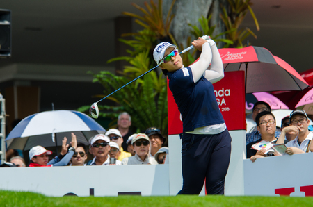 tee off: CHONBURI - FEBRUARY : Amy Yang of South Korea in Honda LPGA Thailand 2016 at Siam Country Club, Pattaya Old Course on February 27, 2016 in Chonburi, Thailand. Editorial