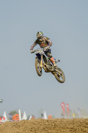 brent: SUPHANBURI - MARCH 06 : Brent Van Doninck #172 with Yamaha Motorcycle in competes during the FIM MXGP Motocross Wolrd Championship Grand Prix of Thailand 2016 on March 06, 2016 in Suphanburi, Thailand.