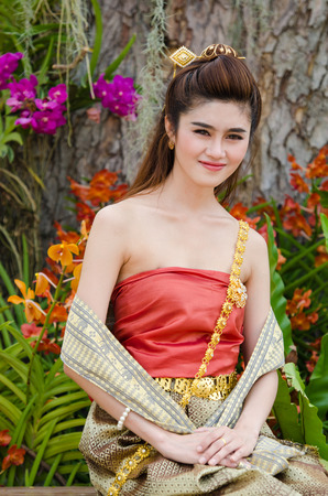 thai culture: Thai woman dressing traditional. Wearing on important Day, New Years Day Culture traditional Day