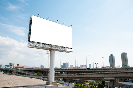 advertising signs: Blank advertising billboard beside Expressway.Whiteboard for advertising billboard. Put Text or image for advertising.